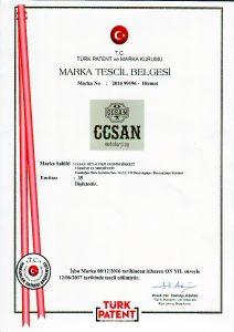 ccsan marka tescil sertifikası